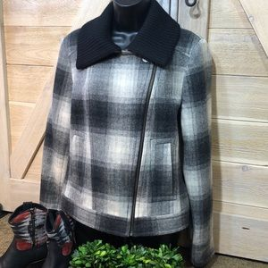 Calvin Klein Wool Blend Soft Plaid Jacket